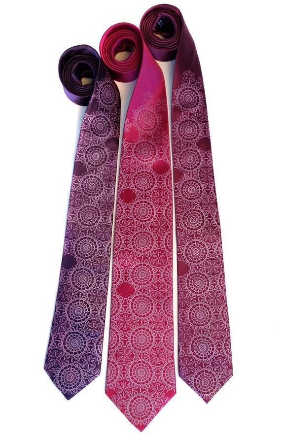 Wedding ties. 3 silk custom color matching groomsmen men's neckties. Wedding group discount. Radiant Orchid printing ink and more!