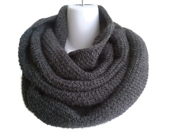 Charcoal Grey Alpaca Infinity Loop Scarf  SAMANTHA Ready to Ship