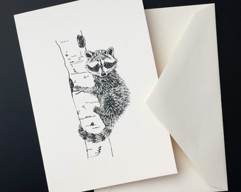 Young Raccoon Illustration Note Card