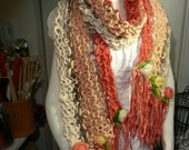 Boho Fairy Hippie Gypsy Hand Spun, Hand Knit Enchanting Shawl or Scarf in Cream, Peach & Papaya with Needle Felted Roses, Sari Silk Ribbons