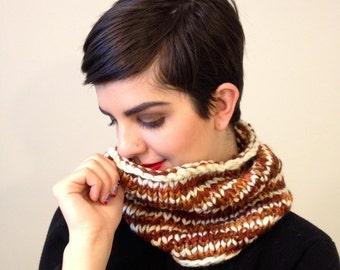 White and brown stripe handknit cowl scarf - handspun winter scarf