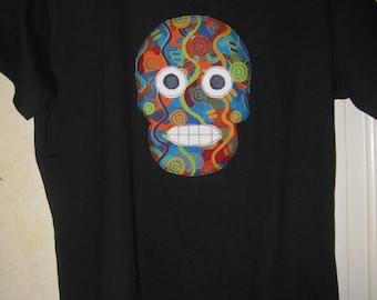 Skull-themed women's fitted T-shirt, size large, Day of the Dead