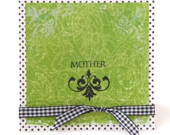 MOTHER HANDMADE Photo CARD / Green Black / Large 6x6 / Fancy