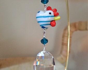 Hen Chicken Heart Suncatcher with Swarovski Matrix  Capri Blue Stripe LOGO ETCHED Sun Catcher