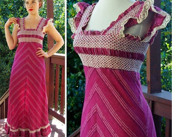 Rose of the PRAIRIE 1960's 70's Vintage Cotton Deep Purple Pink Chevron Striped MAXI Dress with Lace // size Small