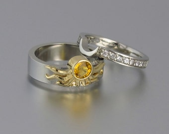 Sun and Moon ECLIPSE engagement ring set in 18k & silver