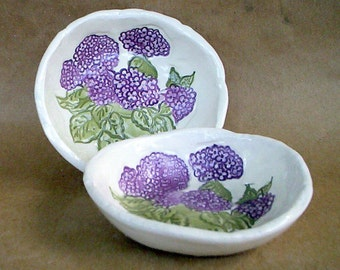 Ceramic Prep Bowls Set of  TWO Hydrangeas Organic Shape
