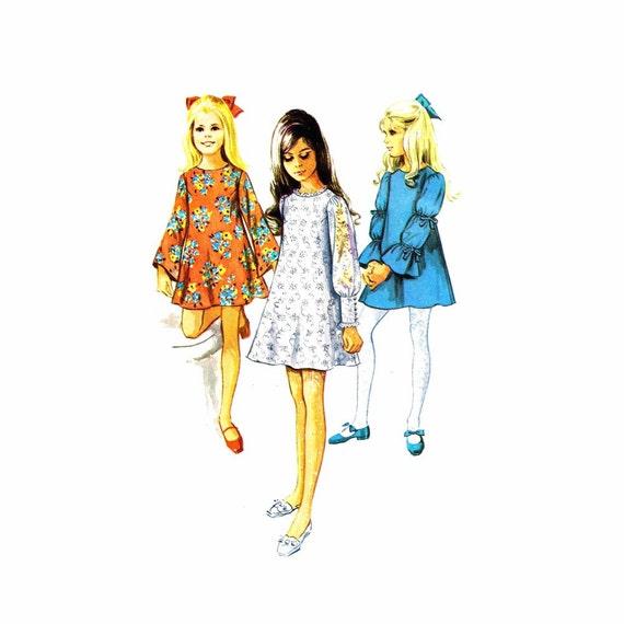 Vintage 1960s Girls Angel Sleeve Dress Simplicity 8024 Vintage Sewing Pattern Size 10