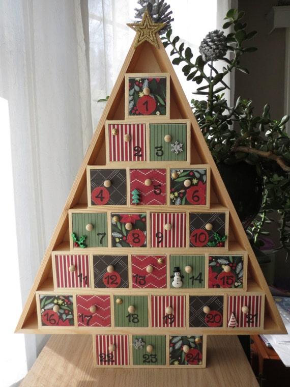 Diy Advent Calendar Drawers : Christmas tree advent calendar wooden drawers contemporary