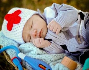 red cross beanie hat newborn photography prop nurse doctor medic hat