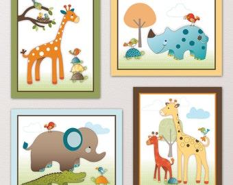 Set of Four Giraffe Safari Nursery Art Prints - made to match a beddding set. Cute Jungle Animals, Fun Colors. Giraffe, Elephant, Birds