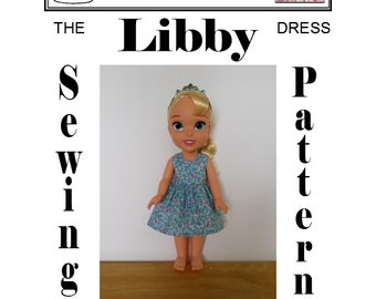 """Dress Sewing Pattern for Disney's 13 1/2"""" Princess Toddler Doll"""