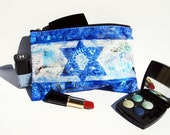 Cosmetic Bags with the Israeli Flag | HANUKKAH GIFT | Judaica art | Bat Mitzvah gift idea | printed pouch | makeup case