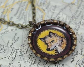 Limited Edition - Original Fox Illustration Pendant - Vintage Bottle Cap Necklace - Antique Brass Chain - Art Jewelry