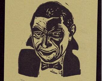 Bela Lugosi as Dracula Original Classic Movie Monster Linocut