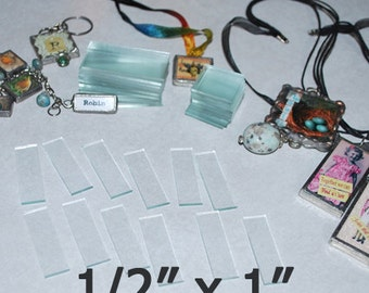 100 pack - 1/2 x 1 Inch Rectangles Tiny Charm size - Clear Pendant Glass for Collage Altered Art Soldered Jewelry.