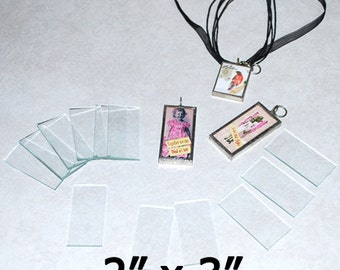 10 Pack of BIG 2 x 3 Inch Rectangles - Clear Pendant Glass for Collage Altered Art Soldered Jewelry.