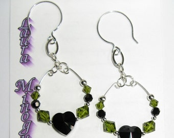 Jet Swarovski Crystal Heart, Olivine Swarovski Crystal and Sterling Silver Earrings - E521