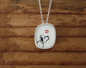 Dog Pendant - Enamel and Silver Dog Necklace - Sterling Silver and Vitreous Enamel