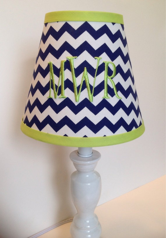 monogrammed lamp shade in navy blue chevron with lime green accent. Black Bedroom Furniture Sets. Home Design Ideas