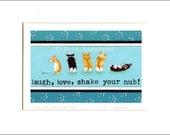 "Evie Anderson Pembroke Welsh Corgi Dog Art SIGNED PRINT ""Laugh, Love, Shake Your Nub!""  (signed, matted)"