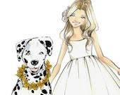 Fashion Illustration Print-Fashion Sketch- Girl Illustration-Kid Illustration Print-Child-Dalmation Sketch-Fashion Illustrator- Brooke Hagel