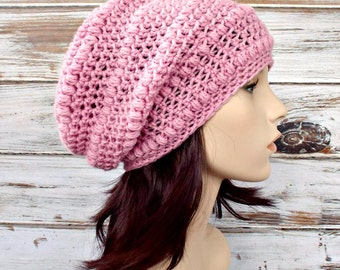 Pink Womens Hat - Penelope Puff Stitch Slouchy Beanie Hat Pale Pink Crochet Hat - Pink Hat Pink Beanie Womens Accessories Winter Hat