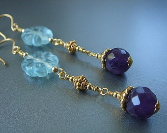Amethyst Earring,s Fluorite Earrings, Purple Earrings, Gold Earrings, Dangle Earrings, Beaded Earrings