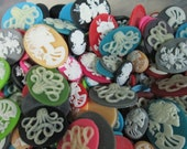 Assorted mix of spooky cameo cabochons, halloween cab grab bag, pick your amount