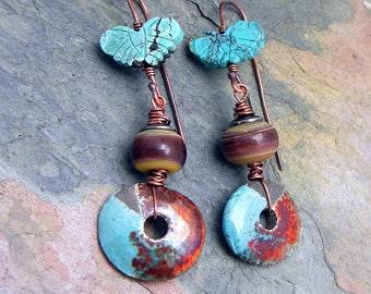 Earthy Tribal  Greek Ceramic  Disk Turquoise Butterfly and Lampwork Bead Earrings Handmade Gypsy Boho SRA Artisan jewelry