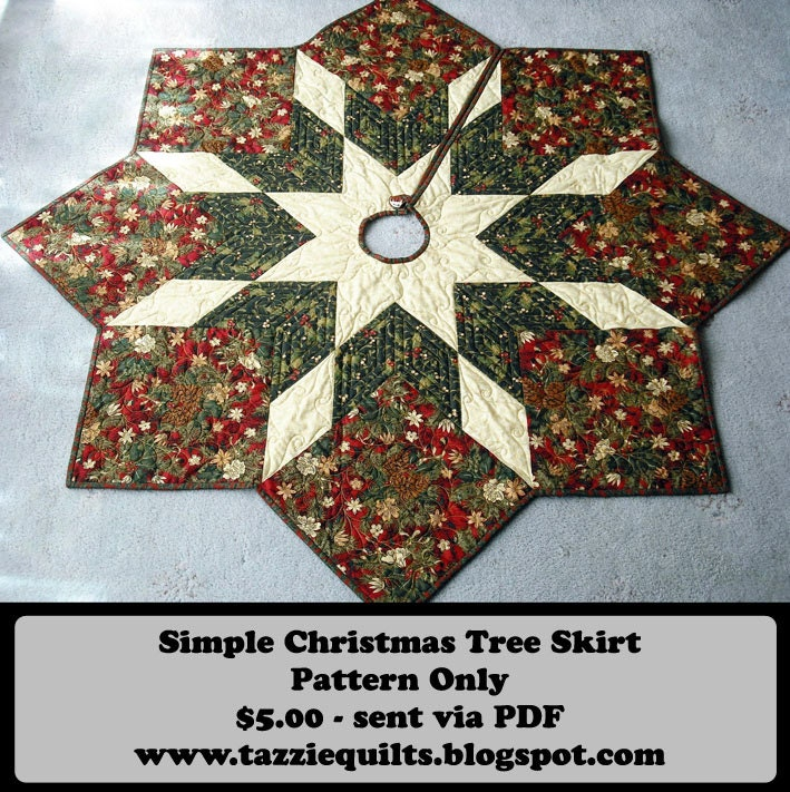 Etsy Christmas Tree Skirt: Quilted Christmas Tree Skirt Pattern By TazzieQuilts On Etsy