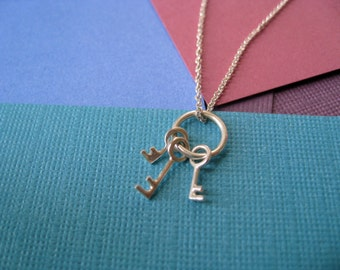Sterling Silver Delicate Necklace - Miniature Key Ring