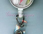White Poodle Paris Champs Elysee Designer Gift Retractable ID Badge Holder Reel Clip
