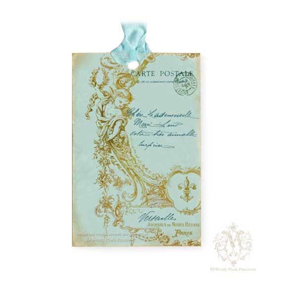 French gift tag, cupid, cherub, Versailles, fleur de lis, aqua blue, gold, Christmas gift tag, shabby aged tags