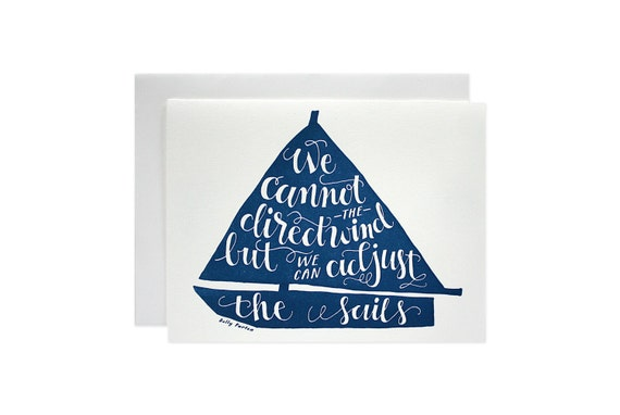 Sail Boat Screen Printed Card