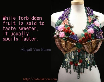Virgin - Wearable Art (bra) knitted, beaded, metalwork (All silver bugs on this piece are available separately)