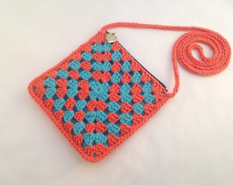 Not so square - Crochet Granny Square Handbag - Orange and Turquoise