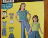 Girl's Easy to Sew Pattern - Simplicity 4206 Girl's Pullover top, Skirt and wide cropped pants or shorts  Sizes 7,8,10,12,14