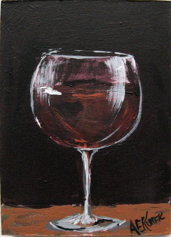 Red wine glass painting wine art original by silentmylostudio for How to paint a wine glass with acrylics