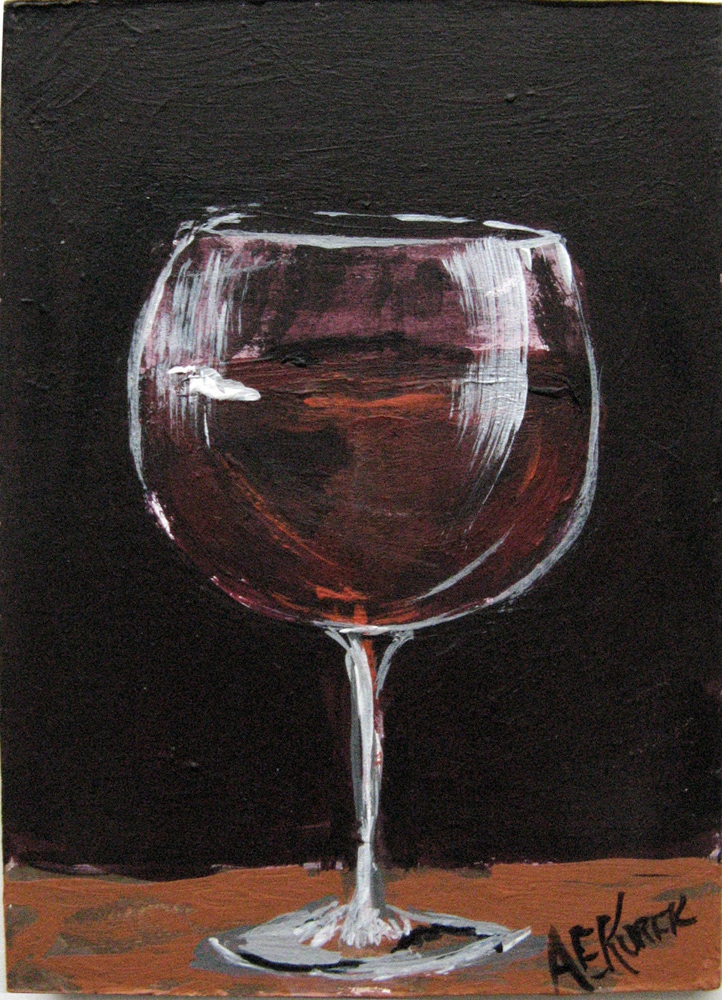 Red wine glass painting wine art original by silentmylostudio for Painting and wine