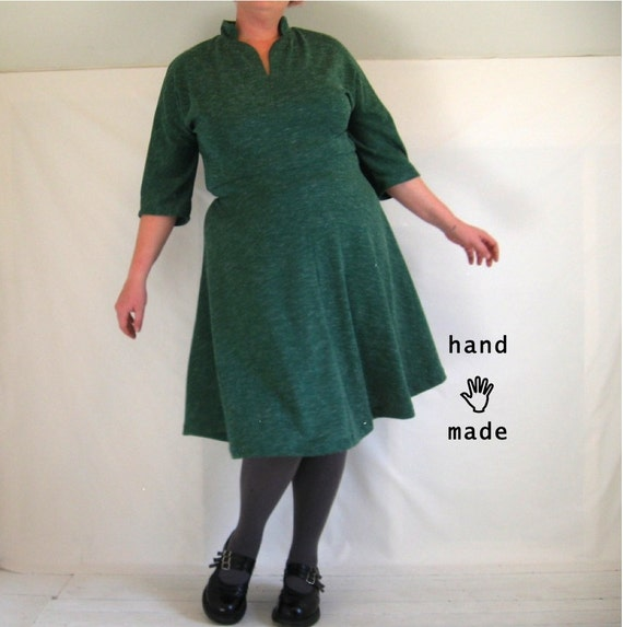 LittleCollar Dress - plus size 2X, size 18, size 20, 3/4 sleeves, handmade in forest green knit vintage fabric -- 50B-40W-56H