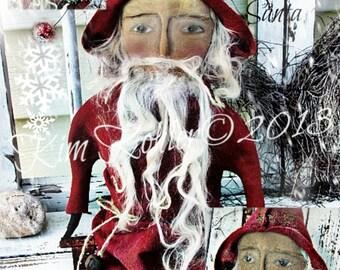 Primitive Santa Doll Pattern Instant Download PDF Old World Folk Art Vintage Christmas Winter Fabric Cloth Sewing Kim Kohler
