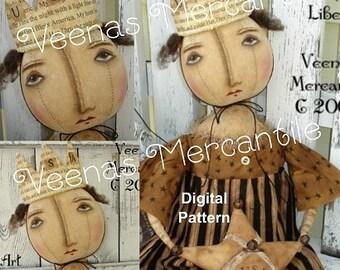 Instant Download Americana Primitive Doll Pattern Digital Patterns Queen Liberty Folk Art Vintage Fabric Sewing Kim Kohler Veenas Mercantile