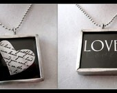 Pewter and Steel Double Sided Art Glass LOVE Necklace - TRUE LOVE