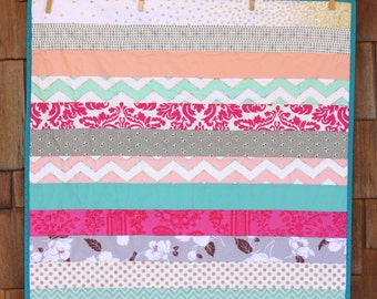 Custom Baby Quilt. Stripes of Cute Boy, Girl, or Gender Neutral Prints. Perfect Shower Gift.