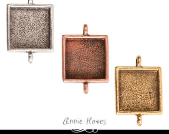 Square Pendant Tray Setting for Pendants or Bracelets with Two Links. Choose from Antique Silver, Copper, or Gold. Pendants or Bracelets.