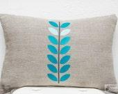 Turquoise Vine Linen Pillow Cover
