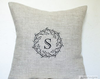 Branches Monogram Linen Pillow Cover 16x16 inch