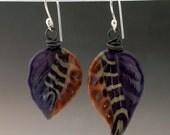 Purple and caramel striped lampwork glass leaf earrings
