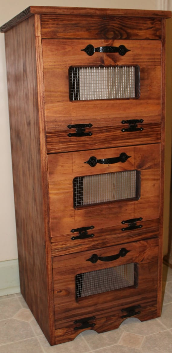 vegetable bin wood potato storage rustic cupboard country. Black Bedroom Furniture Sets. Home Design Ideas